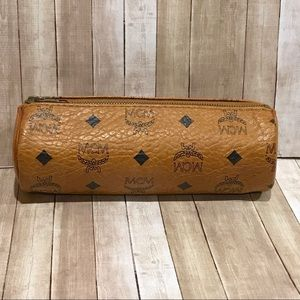 MCM Visetos Monogram Barrel Zip Pencil Case
